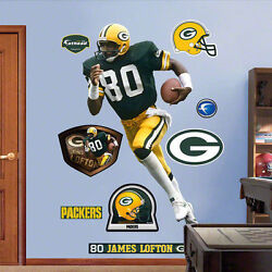 James Lofton Fathead Lifesize Real Big W/ Packers Hof Wr 80 Logos And Extras