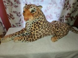 Large 43 Laying Spotted Leopard Best Made Toys Stuffed Plush Realistic Quality