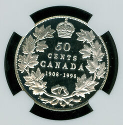 1998 90th Ann. Canada Silver 50 Cents Ngc Pf70 Uhcam Mac Solo Finest Spotless
