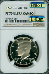 1992-s Kennedy Half Dollar Ngc Pf-70 Uhcam Mac Finest Registry And Spotless .