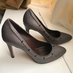 Bruno Magli Taupe Grey High Heel Shoes With Grommets Size Eur/39.5 Us/ 9