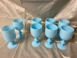 8 Goblets - Portieux Vallerysthal Pv French Antique Blue Opaline Milk Glass