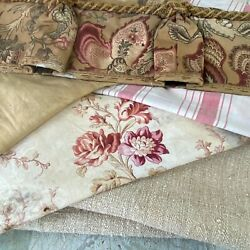 French Floral Fabric And Ticking Project Bundle Pale Striped Linen Floral
