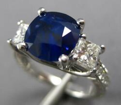 Large 3.12ct Diamond And Aaa Sapphire 14k White Gold 3 Stone Engagement Ring 27230
