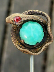 Antique Jeweled Cabochon Turquoise Glass Art Nouveau Deco Snake Hat Pin Brooch