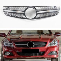 For Mercedes-benz R230 Sl Class 2008-2012 Front Racing Grill Diamond Style Black