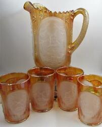 Vintage Imperial Glass Ig Frosted Marigold Windmill Water Pitcher 4 Tumblers Set