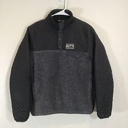 Rare Mixed Snap T Pullover Womenand039s Small Grey/black Fleece/quilted