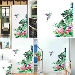 Tropical Leaves Wall Flowers Bird Bedroom Decal Wallpaper Stickers Living Room