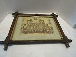 """Antique Military Germany 1887 Print Adirondack Black Forest Carved Frame 21¼"""" W"""