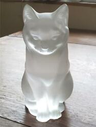 Vtg Lalique France Frosted Crystal Sitting Cat Luxury Art Glass Circa 1970s