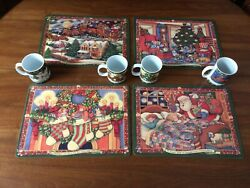 Pimpernel Twas The Night Before Christmas Set Of 4 Placemats And 4 Cocoa Mugs