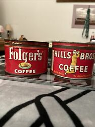 Vintage 1952 Folger's And Hills Bros Tin 1 Lb Coffee Tin Can 1922 W Lid A