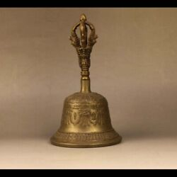 East-online Nice Old Tibet Tibetan Buddhism Alloy Copper Ritual Bell With Mantra