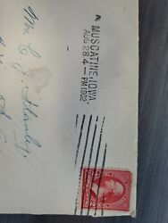 Rare 2 Cent George Washington Stamp Red On Envelope Dated 1902 With Letter