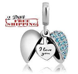 Heart I Love You Authentic Pandora Charms Bracelet Necklaces Silver Women#x27;s Gift