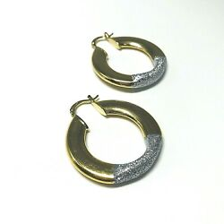 Large Two-toned Matte Gold And Sparkly Silver Tone Hoop Earrings Jh Marking
