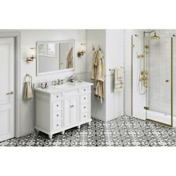 48 White Douglas Vanity White Carrara Marble Top Drawers Fluted Traditional