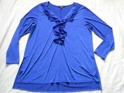Relativity Blue Ruffle Tunic Top Size 1x V Neck Stretch Long Sleeves