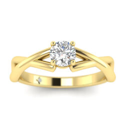 0.71ct D-vs2 Diamond Prong Engagement Ring 18k Yellow Gold Any Size
