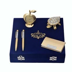 2 German Silver Gold Plated Ball Pen, Visiting Card Holder, Apple Table Clock An