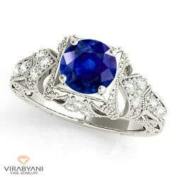 1.35 Ct. Genuine Blue Sapphire Vintage Ring With 0.20 Ct. Diamond 14k White Gold