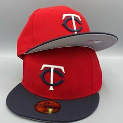 Minnesota Twins Basic Authentic Collection New Era 59fifty Red And Navy Blue Hat