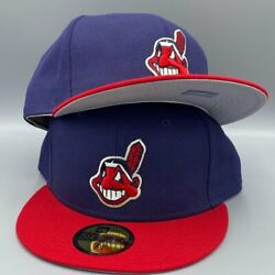 Cleveland Indians Basic Authentic Collection New Era 59fifty Light Navy And Red Ha