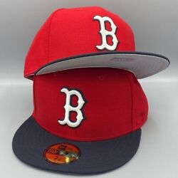 Boston Red Sox Basic Authentic Collection New Era 59fifty Red And Navy Blue Hat