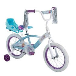 16 Ez Build Girls Bike With Sleigh Doll Carrier White-blue