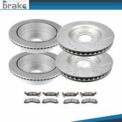 For Ford F-150 Raptor 10 - 11 Front + Rear Brake Rotors Ceramic Pads Drill Slot