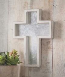 Rustic Farmhouse Style Metal And Wood Hanging Wall Cross Silver And White 10-3/4h