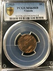 1923pcgs Graded Canadian Small One Cent Ms-63 25205614