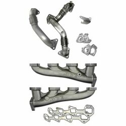 Ppe High Flow Exhaust Manifolds W/ Up Pipes For 2011-2016 Gm 6.6l Lml Duramax