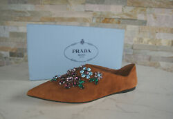 Prada 37 Slippers Slip-on 1s575h Low Shoes Stones New Braun Formerly Rrp