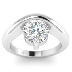 0.73ct D-si1 Diamond Floating Engagement Ring 14k White Gold Any Size