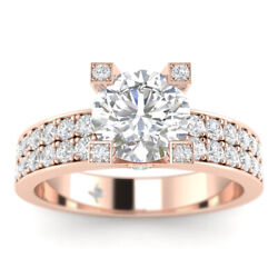 1.18ct D-si1 Diamond Pave Engagement Ring 18k Rose Gold Any Size