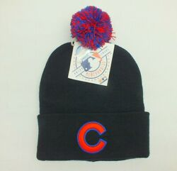Chicago Cubs Knit Beanie Winter Hat Mlb Baseball Black Cuffed Pom One Size New