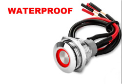 Marine 12V Waterproof ON Off Latching Push Button Switch Red LED w Wires $14.77