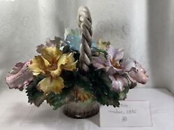 Vintage Capodimonte Large Floral Composition Flowers In Basket Centerpiece Italy