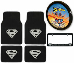 New 6pc Superman Car Truck Front Back Floor Mats Steering Wheel Cover And More