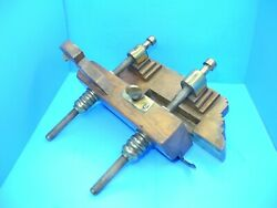 Showy Wood Plow Plough Plane W/ Lots Of Brass Trim - Arms Nuts Flat Panels