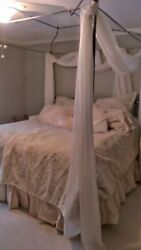 King Size Bed Champagne Canopy Metal/brass Knobs -