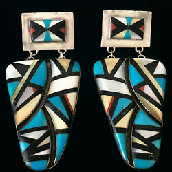 Vintage Native American Large Turquoise, Coral, Pearl And Jet Inlay 925 Earrings