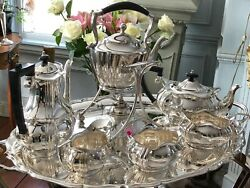 Antique English Silver-plate Coffee /ltea Set With Tilting Urn Tray And Stand Hal
