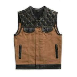 Mens Hunt Club Leather Builder Canvas Diamond Quilted Motorcycle Biker Vest