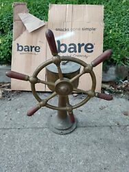 Antique Nautical Patina Brass Ship Wheel With Stand Museum Quality