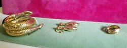 Vintage Rare Whiting And Davis Snake Coil Bracelet, Clip-on Earring And Ring-nos