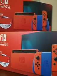 Lot Of 2 Nintendo Switch Hac-001-01 Mario Red And Blue Edition - 32gb