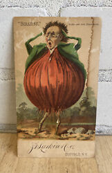 J D Larking Co Boraxine Card, 1885 With Bloated Constipated Man